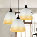 Industrial Pendant Light in Nordic Style with Bowl Glass Shade, White/Beige