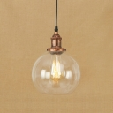 Rust Finish Orb Hanging Lamp Industrial Vintage 1 Bulb Pendant Light with Clear Glass Shade