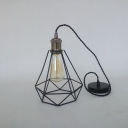 Industrial Pendant Light with 7.87''W Diamond Shape Metal Cage, Black