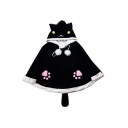 New Stylish Cartoon Cat Print Pompom Embellished Poncho with Tail