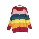 New Stylish Letter Rainbow Color Block Striped V-Neck Long Sleeve Cardigan