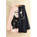 Leisure Color Block Cartoon Cat Letter Print Long Sleeve Hoodie