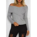 Elegant Bardot Neck Wrapped-Front Long Sleeves Knitted Pullover Sweater