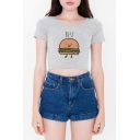 Round Neck Short Sleeves Cartoon Letter Printed Cropped Slim-Fit Tee