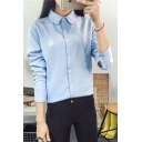 Simple Embroidered Lapel Long Sleeve Buttons Down Shirt
