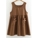 Simple Plain Bow Embellished Sleeveless Swing Mini Dress
