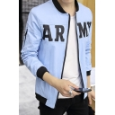 Leisure Letter Print Zip Placket Long Sleeve Baseball Jacket