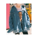 Fashionable Cartoon Printed Long Sleeves Button-Down Tassel-Trimmed Denim Jacket with Chest Pockets