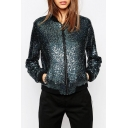 Unique Stand-up Collar Long Sleeves Zip-up Sequined Baseball Jacket with Pockets