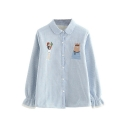 Warm Cartoon Embroidered Striped Lapel Long Sleeve Buttons Down Shirt