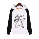 Cute Rabbit Printed Contrast Long Sleeves Color Block Pullover Hoodie