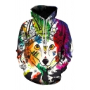 Rainbow Colorful Animal Cartoon Tribal Pattern Long Sleeves Pullover Hoodie with Pocket