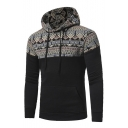 New Stylish Tribal Print Drawstring Hood Long Sleeve Unisex Hoodie