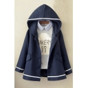 New Fashion Contrast Striped Trim Hooded Buttons Down Long Sleeve Coat