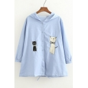 New Fashion Lovely Cartoon Cat Embroidered Hooded Long Sleeve Buttons Down Coat