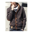 Fashion Color Block Trim Patchwork Long Sleeve Unisex Hooded Coat