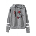 Chic Floral Letter Print Striped Long Sleeve Leisure Loose Hoodie