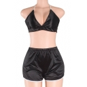 New Stylish Halter Neck Cropped Top Shorts Simple Plain Co-ords