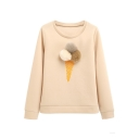 New Fashion Simple Puff Balls Embellished Round Neck Long Sleeve Pullover Sweatshirt