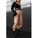 Simple Plain Leisure Zip Fly Harem Pants