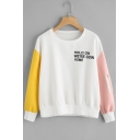 New Fashion Color Block Letter Print Round Neck Long Sleeve Pullover Sweatshirt