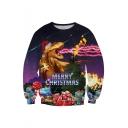 Christmas Dinosaur Patterned Round Neck Long Sleeve Sweatshirt
