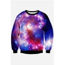 New Stylish 3D Galaxy Print Round Neck Long Sleeve Pullover Sweatshirt