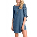New Fashion Simple Plain Crisscross Ribbons Side Half Sleeve Mini Dress