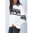 New Fashion Leisure Geometric Print Round Neck Long Sleeve Pullover Sweatshirt