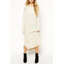 Chic Plain Hollow Out Round Nexk Long Sleeve Sweater Maxi Dress