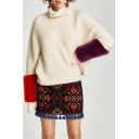 Stylish Roll Neck Long Sleeve Color Block Fur Sweater