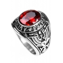 Vintage Tribal Red Sapphire Inserted Steel Ring
