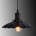 Industrial Pendant Light with 11.81''W Scalloped Shade, Black