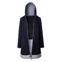 Chic Color Block Print Bow Back Long Sleeve Zipper Tunic Hooded Coat