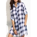 Fashion Split Side Long Sleeve Button Down Classic Plaid Tunic Shirt