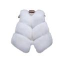 New Stylish Open Front Faux Fur Simple Plain Vest