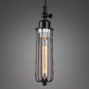 Industrial Mini Pendant Light with 2.95''W Metal Cage, Black