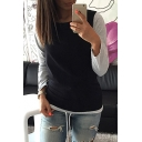 Fashion Color Block Print Long Sleeve Round Neck Drawstring Hem Tee