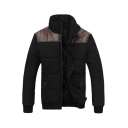 Simple Color Block Stand-Up Collar Zip Up Long Sleeve Padded Coat