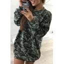 New Fashion Camouflage Pattern Round Neck Long Sleeve Mini Dress