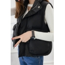Winter's Fashion Stand-up Collar Zippered Plain Quilted Vest with Double Pockets