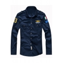 Stylish Turn-down Collar Long Sleeves Badge Appliques Button-Down Slim-Fit Shirt with Chest Pockets