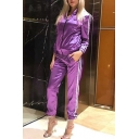 Party Reflective Fabric Striped Zippered Long Sleeves Co-ords