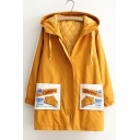 Fashion Embroidered Letter Pattern Pocket Long Sleeve Zipper Hooded Tunic Coat