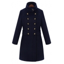 New Stylish Double Stand-Up Collar Long Sleeve Simple Plain Tunic Coat