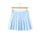 New Fashion Simple Plain Zip-Fly Pleated Mini Skirt
