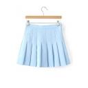 New Fashion Simple Plain Zip-Fly Pleated Mini Skirt
