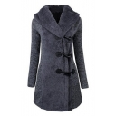 New Stylish Toggle Long Sleeve Simple Plain Tunic Hooded Coat
