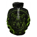 New Stylish 3D Wolf Print Drawstring Hood Long Sleeve Hoodie
