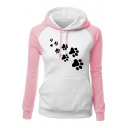 New Fashion Leisure Color Block Cartoon Print Long Sleeve Hoodie